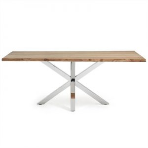 Bromley Oak Veneer & Stainless Steel Dining Table, 220cm, Natural / Silver
