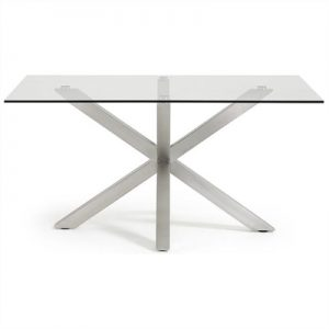 Bromley Tempered Glass & Stainless Steel Dining Table, 150cm, Clear / Silver
