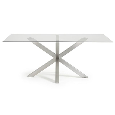 Bromley Tempered Glass & Stainless Steel Dining Table, 200cm, Clear / Silver