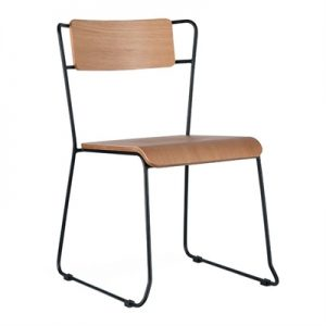 Bronx Commercial Grade Steel Dining Chair, Natural Oak / Black