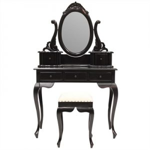 Champier Hand Crafted Mahogany Dressing Table with Stool - Distressed Black