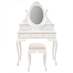 Champier Hand Crafted Mahogany Dressing Table with Stool - Distressed White