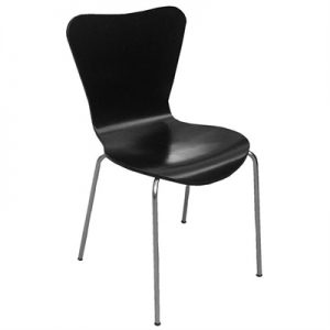 Cletus Commercial Grade Basswod Dining Chair, Black