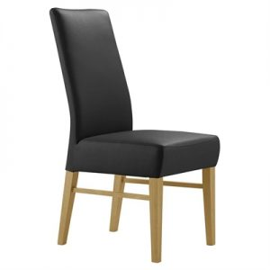 Davos Leather Dining Chair, Black / Wheat