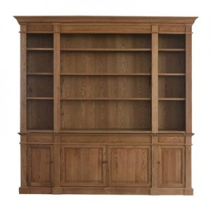 Dundee Oak Timber Library Bookcase, 240cm, Natural Oak