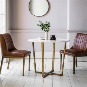 Emperor Marble Top Round Dining Table, 90cm, White / Brass