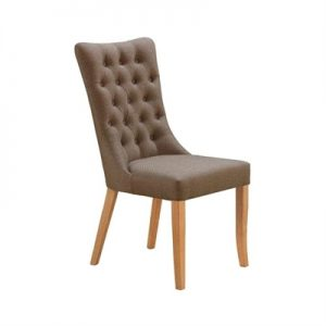 Erina Tufted Fabirc Dining Chair, Brown / Wheat