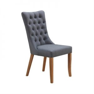 Erina Tufted Fabirc Dining Chair, Grey / Blackwood