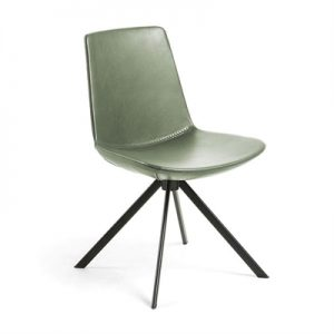 Eurobin PU Leather & Steel Dining Chair, Green