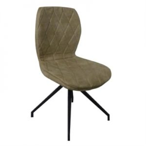 Franchot Fabric Upholstered Metal Dining Chair, Beige