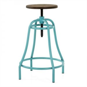 Frazier Steel Indoor/Outdoor Bar Stool with Bamboo Seat, Turquoise