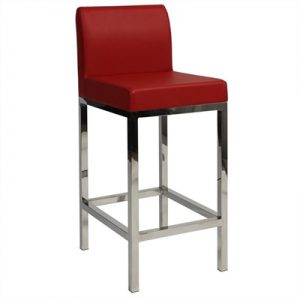 Fuji V2 Commercial Grade Vinyl Upholstered Stainless Steel Counter Stool - Red