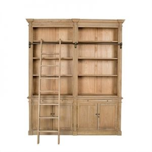 Georgian Solid American Oak Timber Double Section Library Bookcase