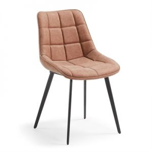 Hadsten PU Leather Dining Chair, Oxide Brown