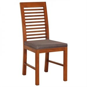 Holland Solid Mahogany Timber Dining Chair with Cushion Seat - Light Pecan