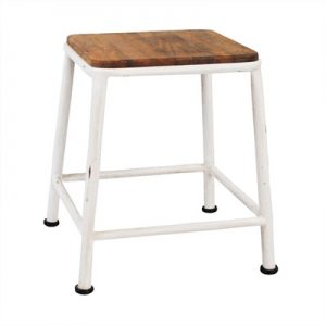 Hunston Metal Table Stool with Timber Seat, White