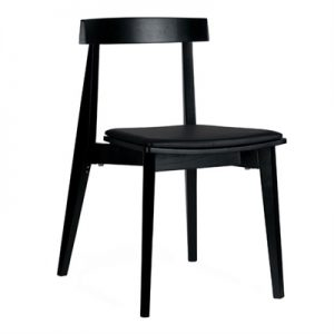 Izu Commercial Grade Solid Timber Dining Chair with PU Seat, Black