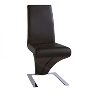 Kuroki Z Shape PU Leather Dining Chair - Black