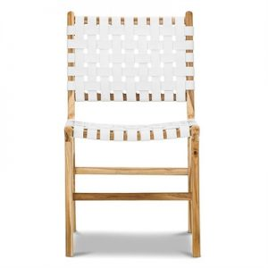 Lazie Woven Leather Teak Dining Chair, White