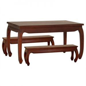 Liam Solid Mahogany Timber 3 Piece 180cm Dining Set - Mahogany
