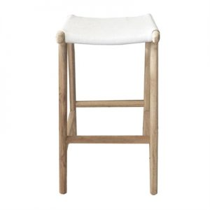 Marvin Leather & Teak Counter Stool, White