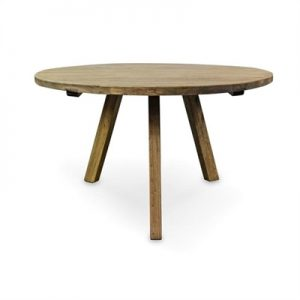 Nat Reclaimed Elm Timber 125cm Round Dining Table - Natural
