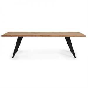 Neville Wood & Steel Dining Table, 220cm, Oak / Black