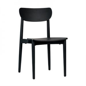 Nordic Commercial Grade Solid Timber Dining Chair, Black