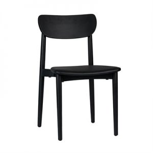 Nordic Commercial Grade Solid Timber Dining Chair with PU Seat, Black