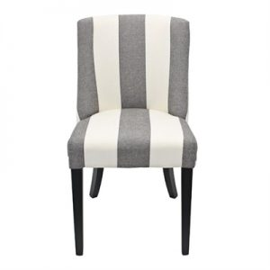Ophelia Linen Upholstered Solid Timber Dining Chair - Wide Stripe