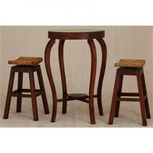 Ornament 3 Piece Solid Mahogany Timber Bar Table & Stool Set, 70cm, Mahogany