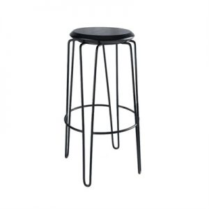 Otto Commercial Grade Steel Bar Stool with Timber Seat, Black