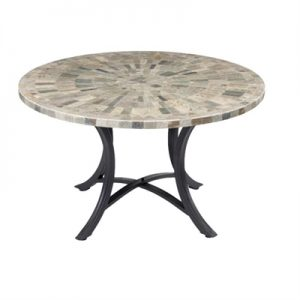 Oyster Slate Stone Round Outdoor Dining Table, 120cm