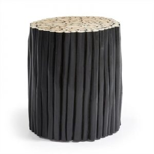 Phylip Solid Teak Timber Accent Stool, Black
