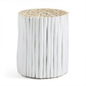 Phylip Solid Teak Timber Accent Stool, White