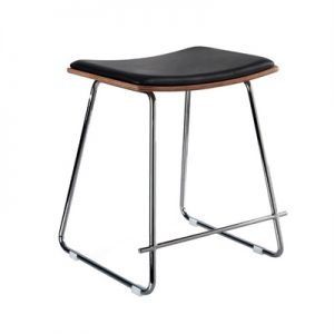 Porter Commercial Grade Steel Table Stool with PU Seat, Black / Chrome