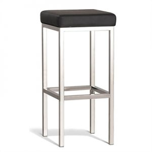 Quadro Commercial Grade Polished Stainless Steel Bar Stool, Black