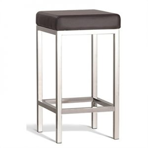 Quadro Commercial Grade Polished Stainless Steel Counter Stool, Brown