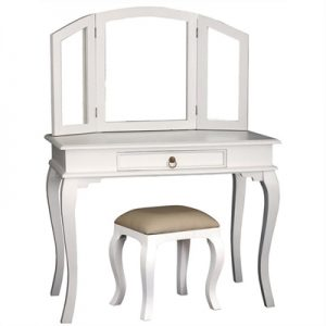 Queen Ann Mahogany Timber Dressing Table with Stool, White