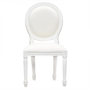 Queen Ann Mahogany Timber Round Back Dining Chair, White
