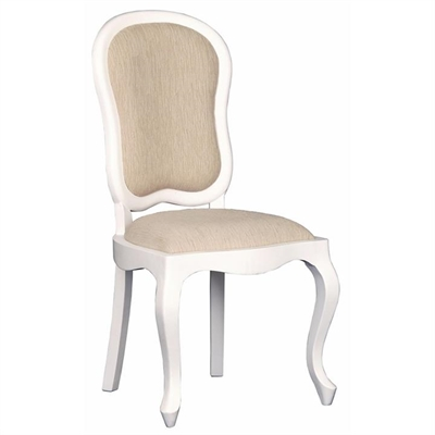 Queen Ann Solid Mahogany Timber Dining Chair - White