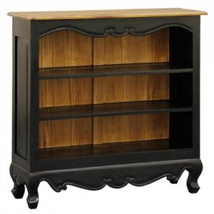 Queen Ann Solid Mahogany Timber Lowline Bookcase, Black/Caramel