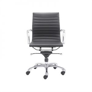 Replica Eames Italian Leather Office Chair, High Back, Black