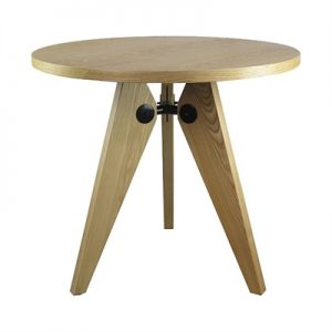 Replica Jean Prouve Round Dining Table, 80cm, Natural