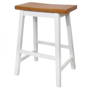 Sander Timber Bar Stool, White / Teak