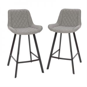 Set of 2 Bordeaux Commercial Grade Faux Leather Counter Stools, Grey