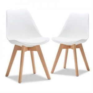 Set of 2 Brighton Dining Chairs - White/Natural