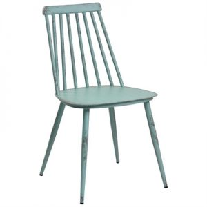 Set of 2 Forster Commercial Grade Aluminium Indoor / Outdoor Dining Chairs, Rustic Duck Egg Blue