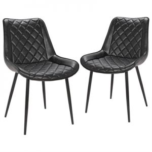 Set of 2 Lyon Commercial Grade Faux Leather Dining Armchairs, Black