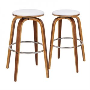Set of 2 Rho Commercial Grade Bentwood Bar Stools with Faux Leather Swivel Seat, White / Light Walnut